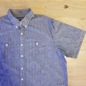 Old Navy Button Down Dotted Stripe Chambray Shirt
